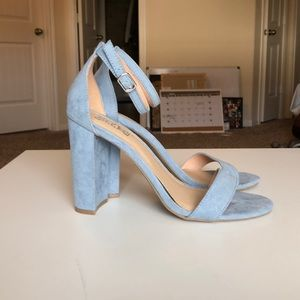 Suede light blue heels